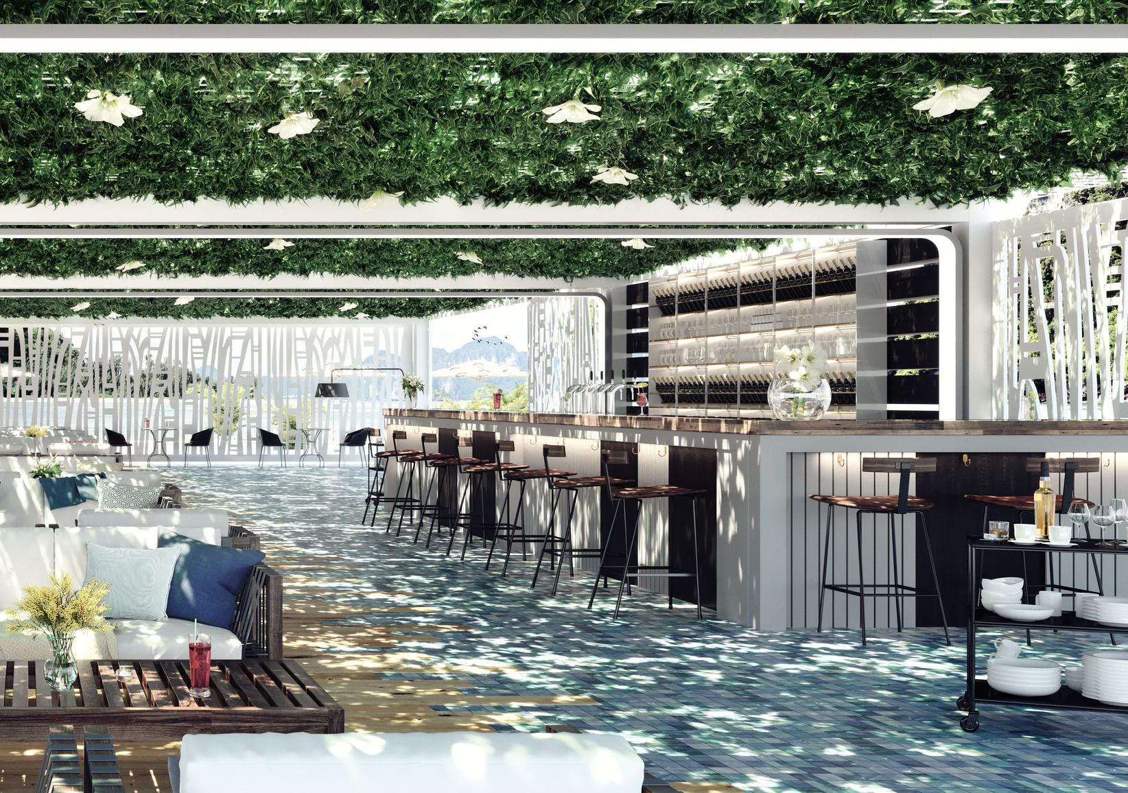Modern concept design of beach cocktail lounge bar 3D Render