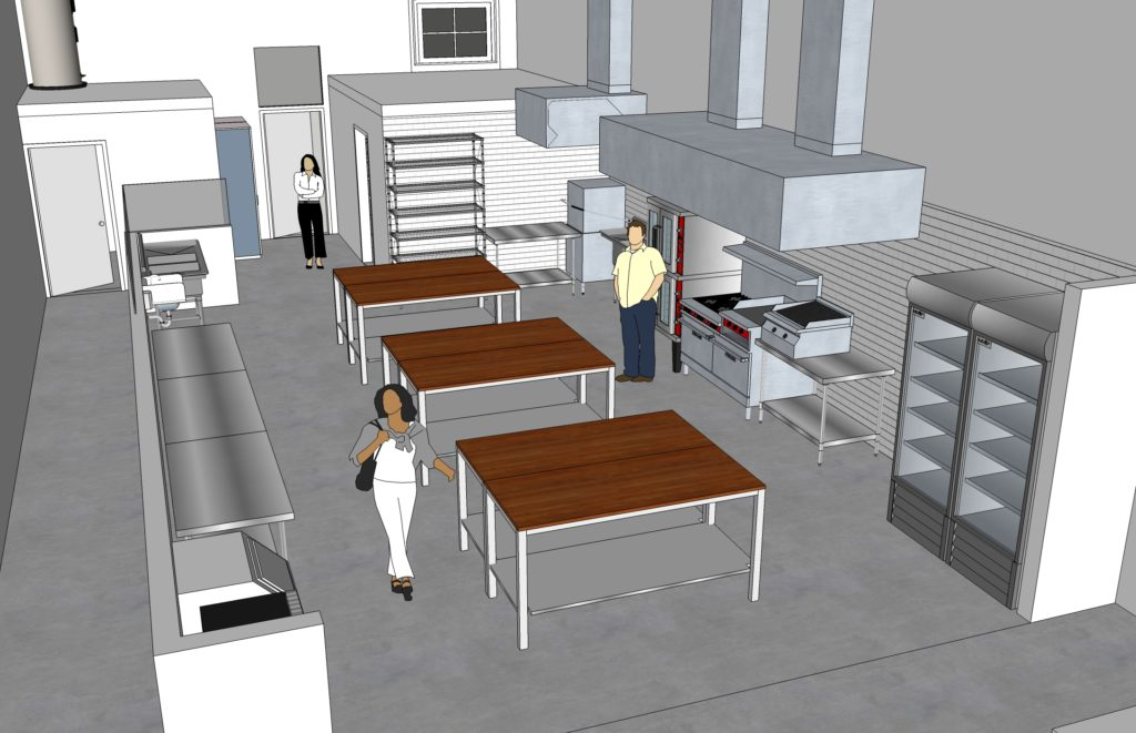 Rendering of the kitchen space