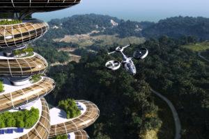 VR AI Hotel Future drone