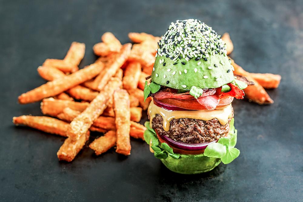 Avocado Burger and food
