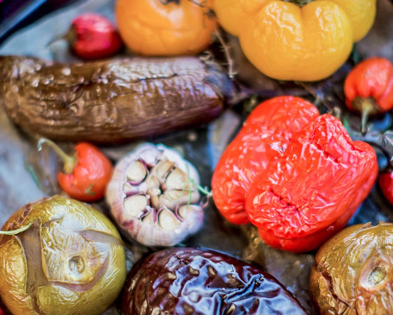 Smoked vegetable in combi oven