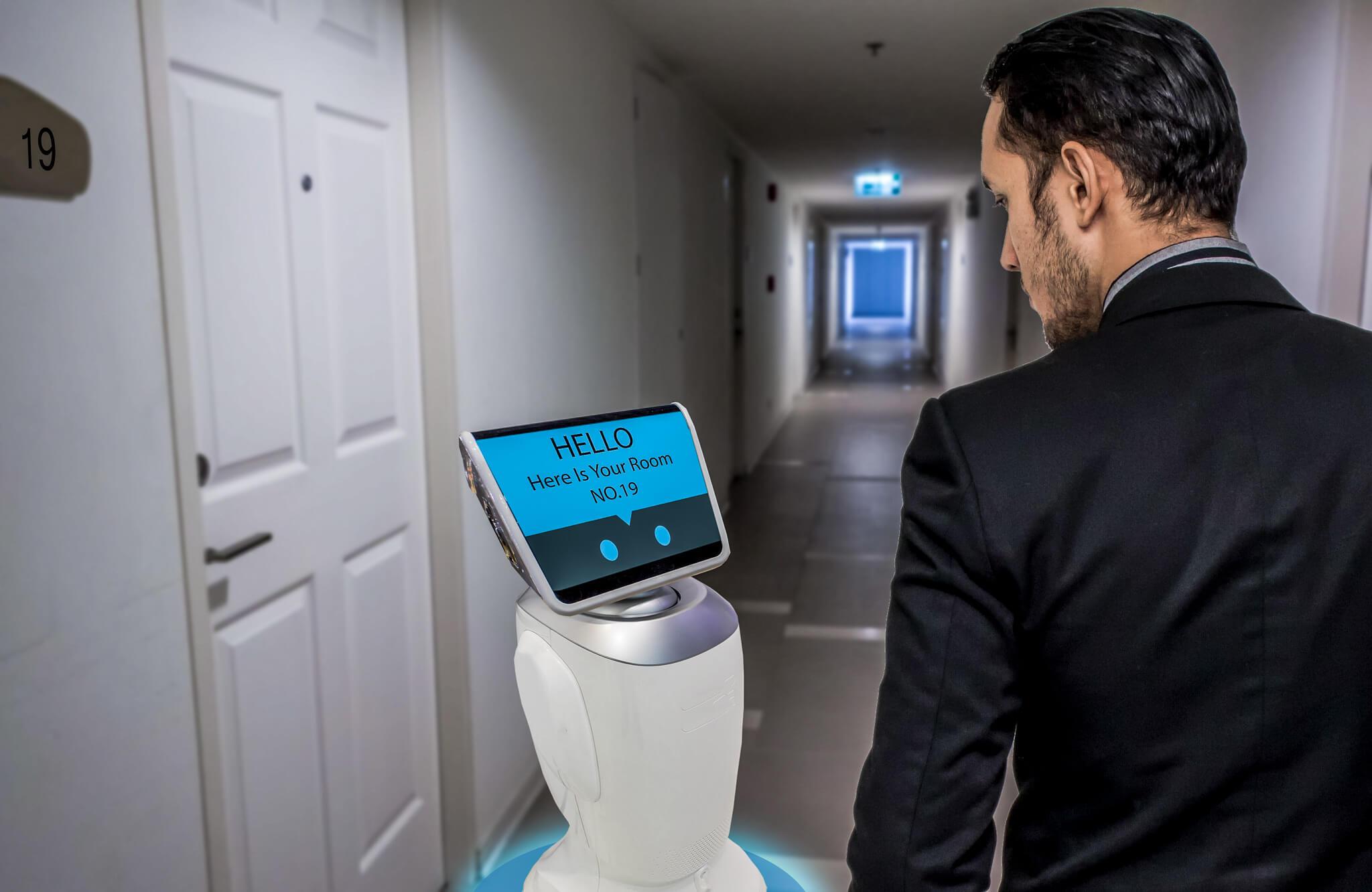 future hotel trend robots corona