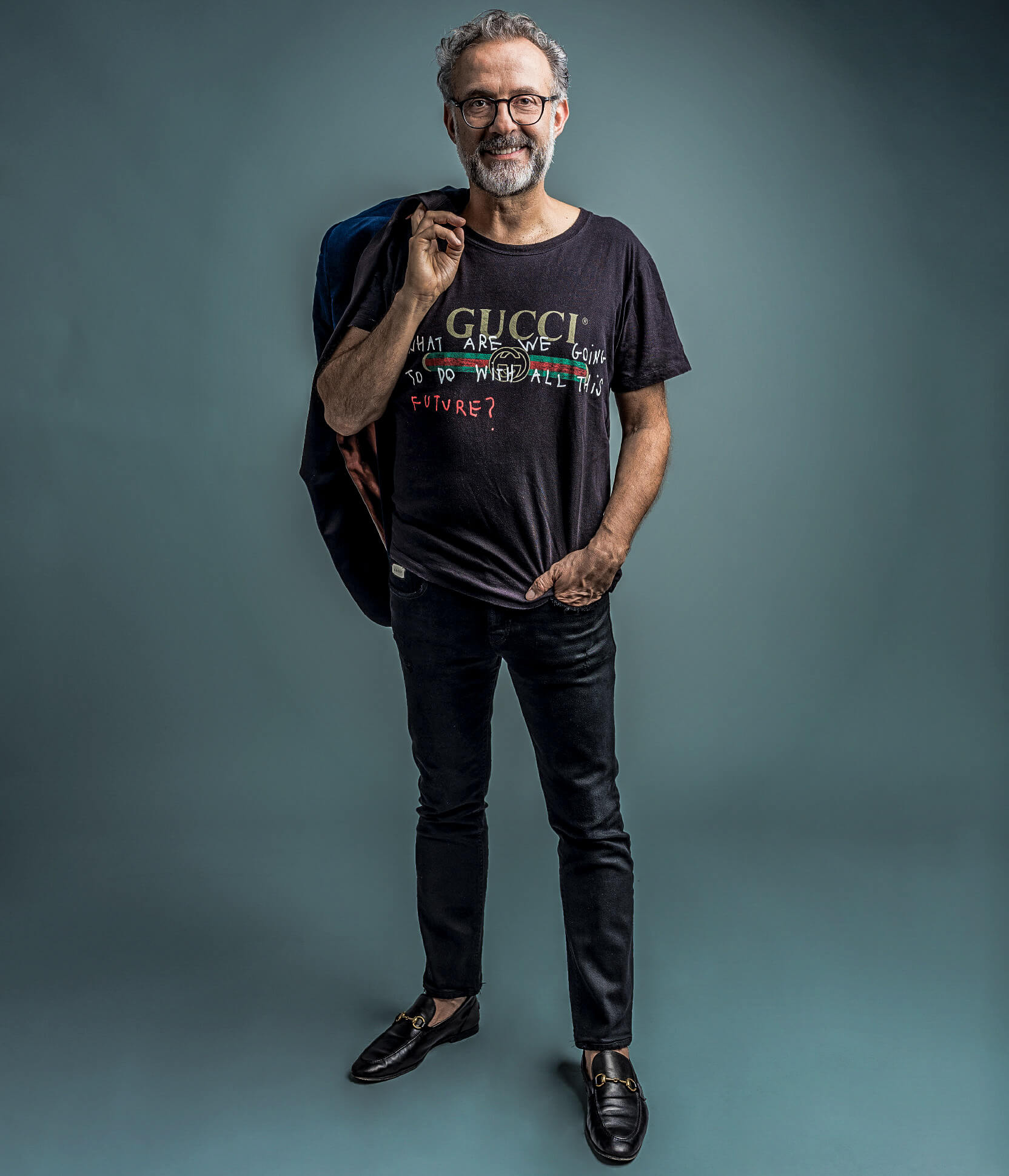 Massimo Bottura, status chef and ambassador of the Italian luxury culinary craft, who is also the founder of a social revolutionary soup kitchen